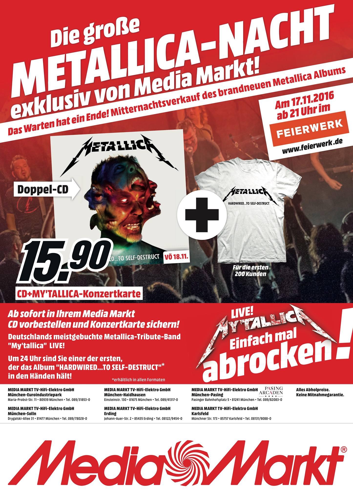 Metallica Tribute Band MY'TALLICA Album Release Show in München Feierwerk Flyer